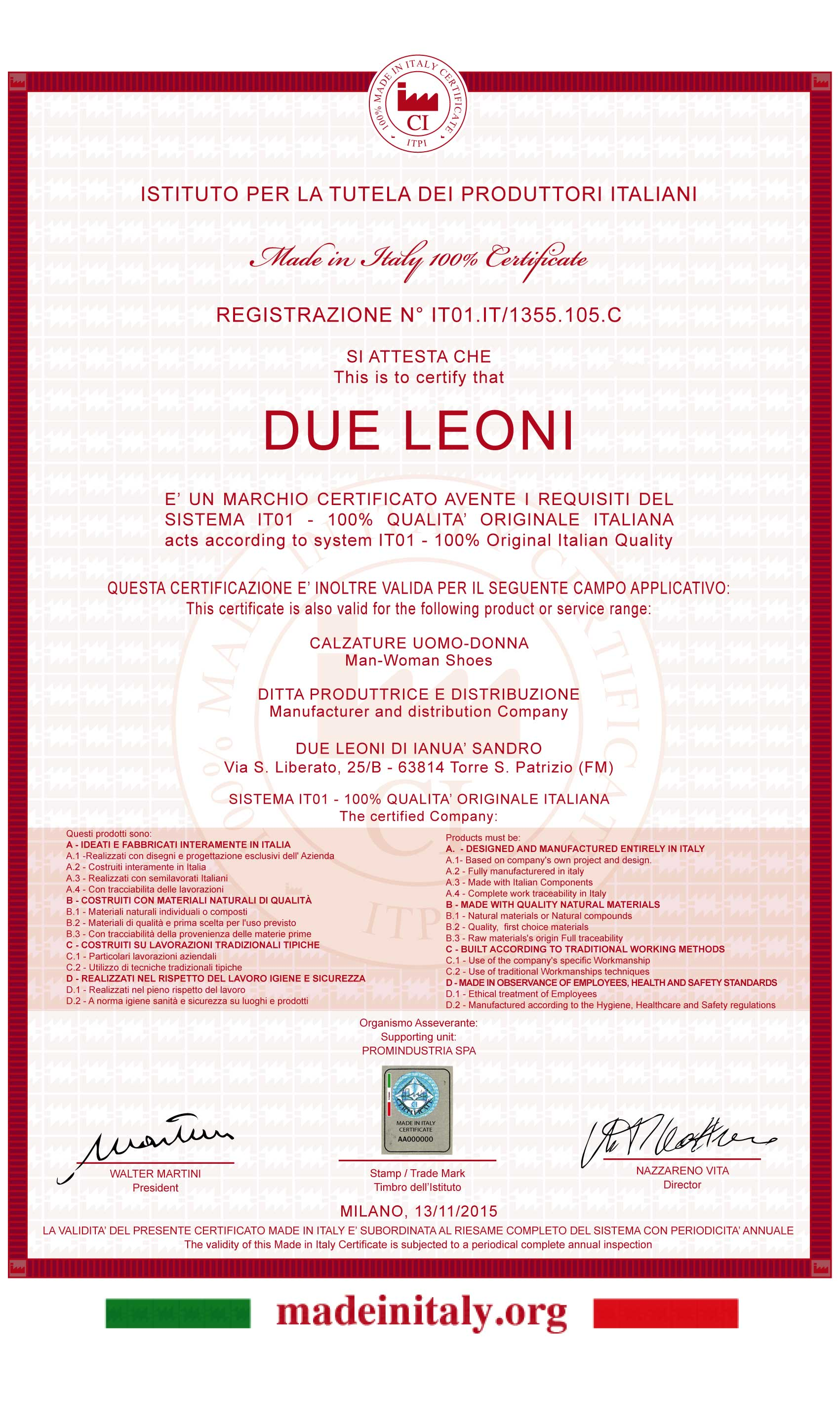 Certificazione Made in Italy